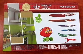 Super Lux Swiss 7 piezas de juego de cuchillos (6 cuchillos ...