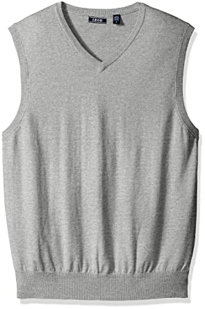 45bdbd4370fa IZOD Men's Soft Fine Gauge V-Neck Solid Sweater Vest, New Light Grey Medium