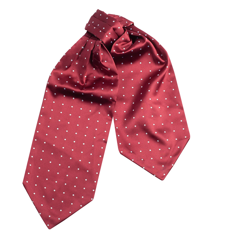 Mens Silk Feel Elegant Cravat Classic Ascot Tie in Polkadot Print Graphic Print Vivente Vivo
