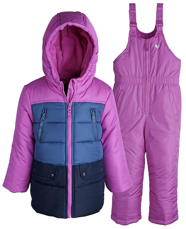 OshKosh Baby Girls 2 Piece Snowsuit Set: Warm Winter Puffer Jacket and Snowbib