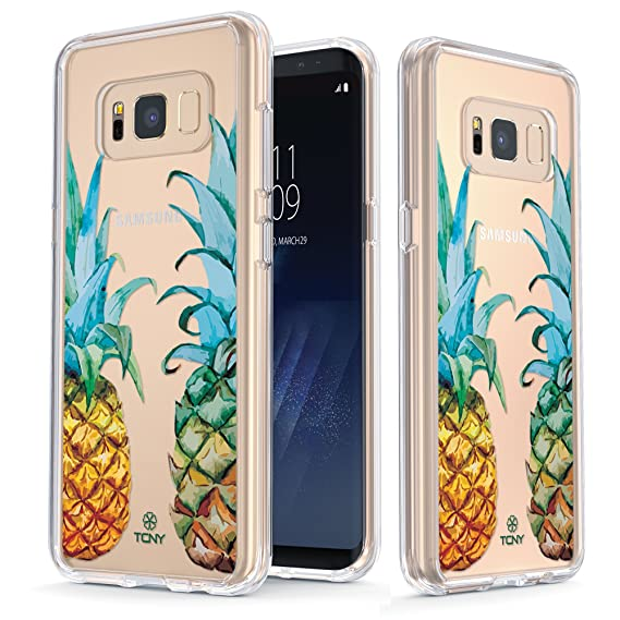 size 40 7c2b6 ddfaf True Color Case Compatible with Samsung Galaxy S8 Pineapples Case -  Clear-Shield Tropical Watercolor Pineapples Printed on Clear Back - Soft  and Hard ...