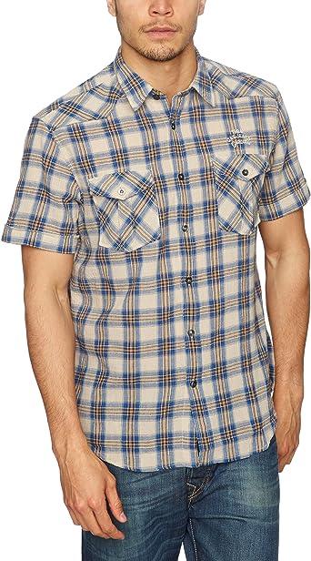 GAS - Camisa de Manga Corta para Hombre, Talla 41/42, Color Azul (Bluesteel): Amazon.es: Ropa y accesorios