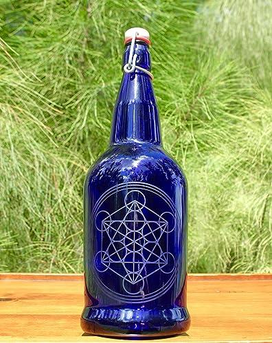 651f9915a987 Amazon.com: 32oz Metatron's Cube Etched Blue Cobalt Reusable Glass ...