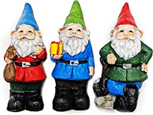 Christmas Garden Gnome Statues Set of 3 with Glitter Sparkly Hats Gift Bag Shovel Holly Berry Rock and Candy Cane