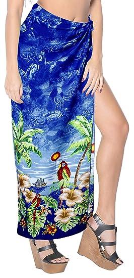 "23078fba3a LA LEELA Soft Light Bathing Suit Girls Sarong Printed 88""X42""  Royal Blue_2800"