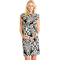 9a86fd01b52 My Bump Women s Side Bow Tie Pattern Cap Sleeve Maternity Dress(Made in USA)