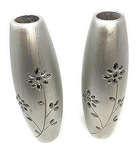 Link Products es Perfecto para Mostrar Gafas y Flores secas. Par de 2 jarrones de Madera Plateados DE 30 cm de Alto