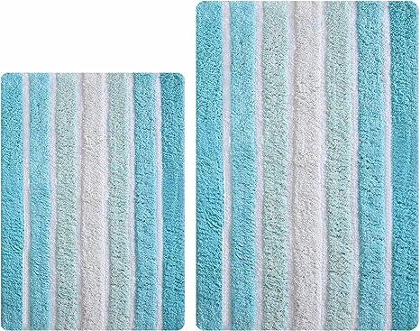 Amazon Com Bathroom Rugs Set 2 Piece In 100 Cotton Alpine Stripe 21x32 17x24 Aqua Turquoise Reversible Bath Rugs Set Cotton Bath Mat Cotton Bath Rugs Soft Absorbent Machine Washable Kitchen Dining