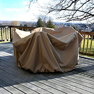 """Island Umbrella NU5542 All-Weather Protective Cover for 48"""" Round Table & Chairs with Umbrella Hole"""