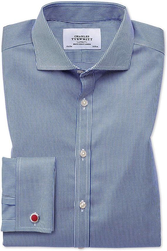 Charles Tyrwhitt Camisa Azul Real Slim fit con diseño Micro Pata de Gallo y Cuello Italiano: Amazon.es: Ropa y accesorios