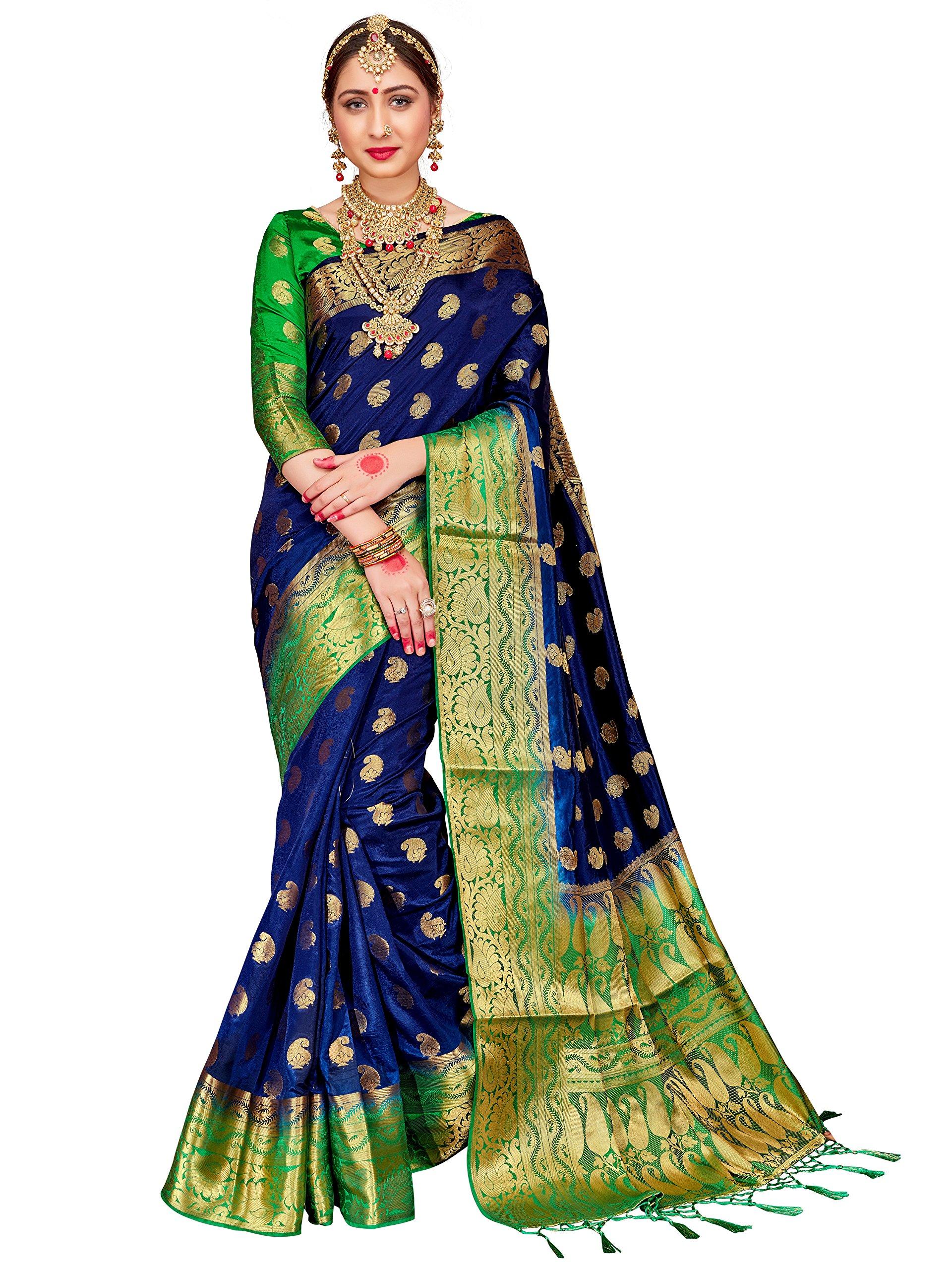 ELINA FASHION Sarees for Women Banarasi Art Silk Woven Work Saree l Indian Wedding Ethnic Wear Sari & Blouse Piece (Navy Blue)