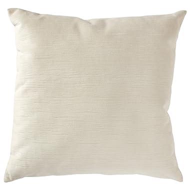Stone & Beam Striated Velvet Linen-Look Decorative Throw Pillow, 17  x 17 , Vanilla