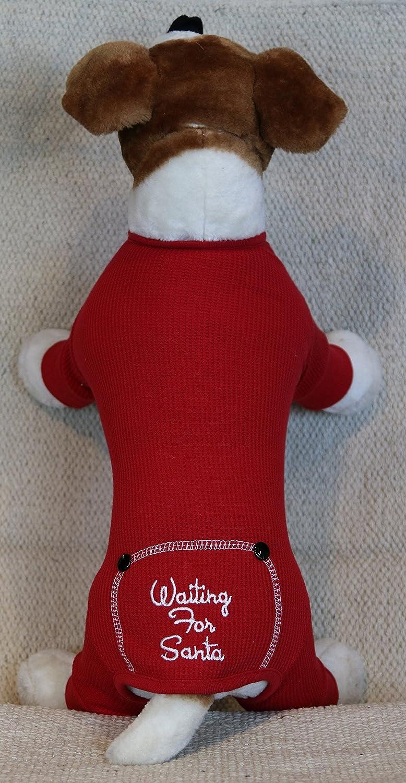 Amazon.com : Dog Christmas Waiting for Santa Embroidered Red ...