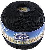 DMC Petra Yarn Size 5, 100% Cotton, Black, 9x9x8 cm