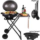 Barbecue électrique rond  barbecue sphérique   barbecue de table   barbecue sur pieds avec couvercle et surface de dépose   barbecue sphérique électrique avec couvercle   pliable, à roulettes
