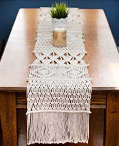"'Macrame Table Runner, Boho Table Runner 86"" x 13 inches, Perfect for Bohemian Decor, Boho Wedding Table Decor, Hand Woven Off White Table Runners for Dining Room, Coffee Table or Decorations for Home"