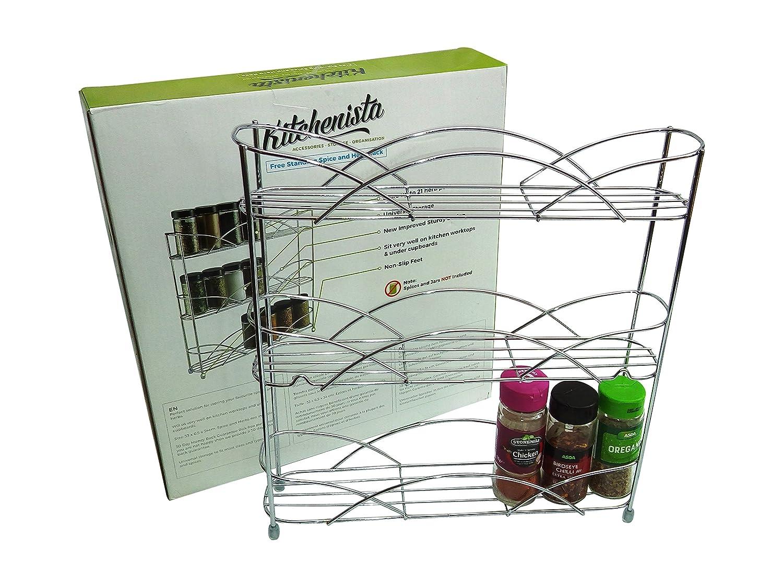 universale per adattarsi a vasetti di diverse dimensioni Cromato Scaffalatura libera Kitchenista per spezie ed erbe aromatiche
