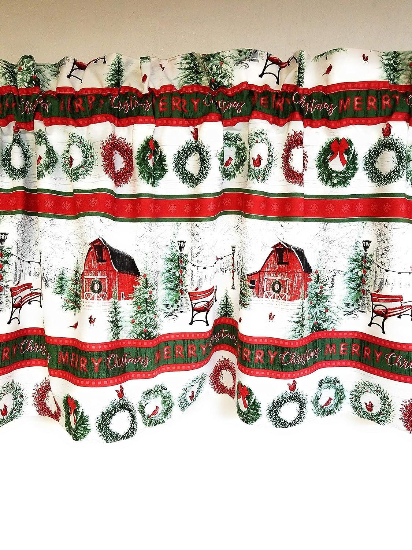 Christmas Country Farm Barn Wreath Stripe Holiday 16 Valance