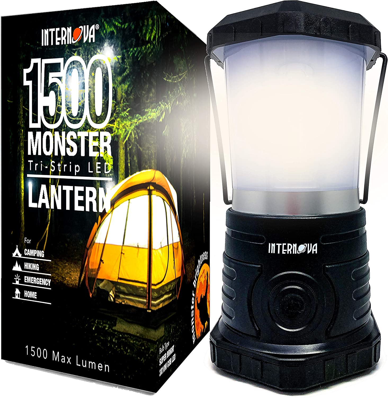 Amazon Com Internova Monster Led Camping Lantern Battery Powered Massive Brightness Perfect For Hurricane Camp Emergency Kit Black 1500 Lumen Battery Powered Model Home Improvement