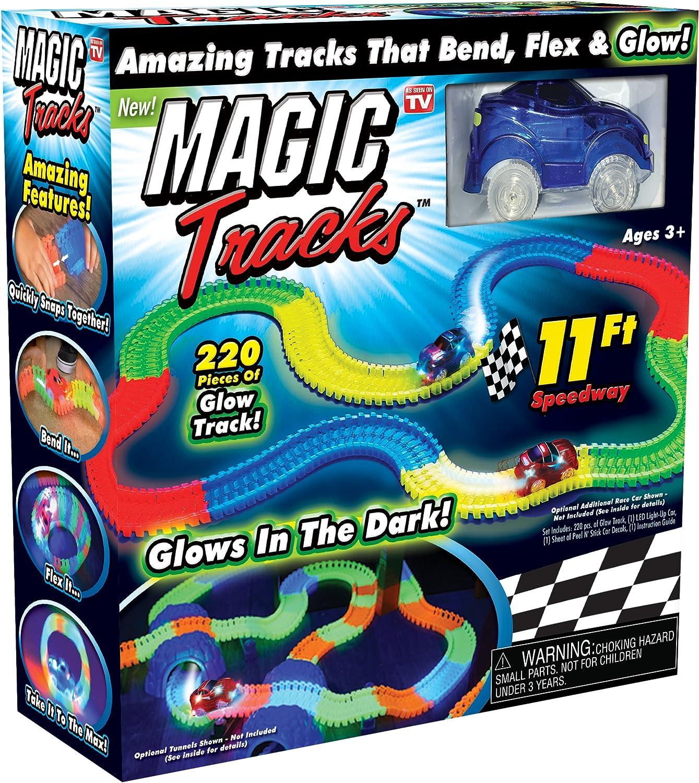 Magic tracks Glow in the dark DEL Light Up race car Bend Flex Track avec voiture