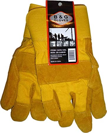 Mens B/&G Thermo Insulated Water-Proof Lined Cowhide Leather Work Winter Gloves
