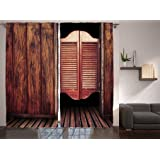 ambesonne western decor collection old vintage rustic wild west swinging cowboy bar saloon door picture