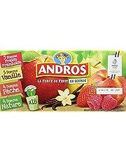 ANDROS Compotes de Fruits en Gourdes 4 Variétés Panachées 18 x 90 g