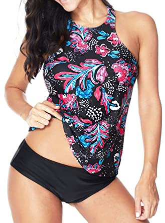 6d36a6343399b ebuddy Women Two Piece Plus Size Backless High Neck Halter Floral ...