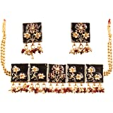 Touchstone Royal Meena Collection Indian Bollywood Fantastically Created Traditional Meenakari Enamel Designer Jewelry Choker Set for Women in Gold Tone