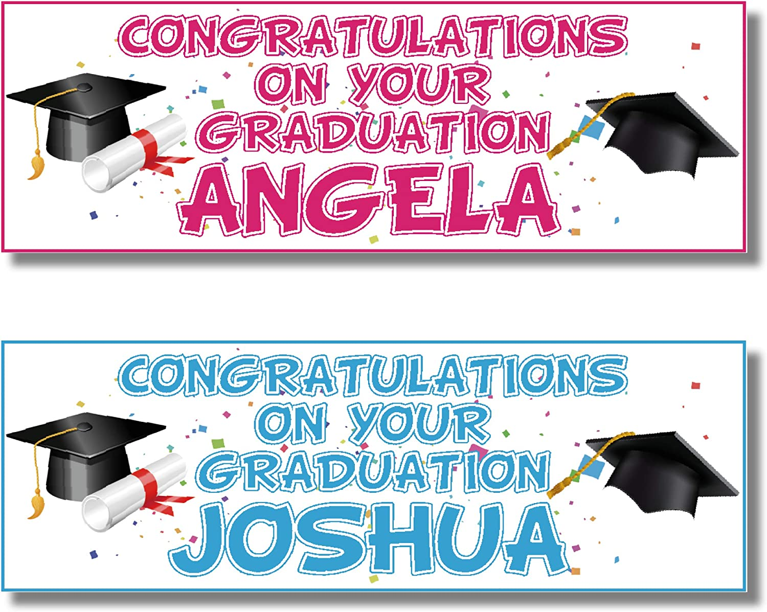 Blue Approx 3ft x 1ft Congratulations 2 Personalised Graduation Banners Any Message Any Name