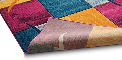 Well Woven RU-70-3 Ruby Red Joy Modern Geo Squares 2 x 3 Mat Accent Area Rug