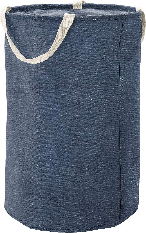 AmazonBasics Fabric Storage Bin - Tall Round, Navy Blue