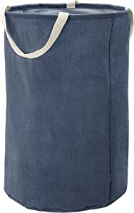 AmazonBasics Fabric Storage Bin - Tall Round, Navy Blue