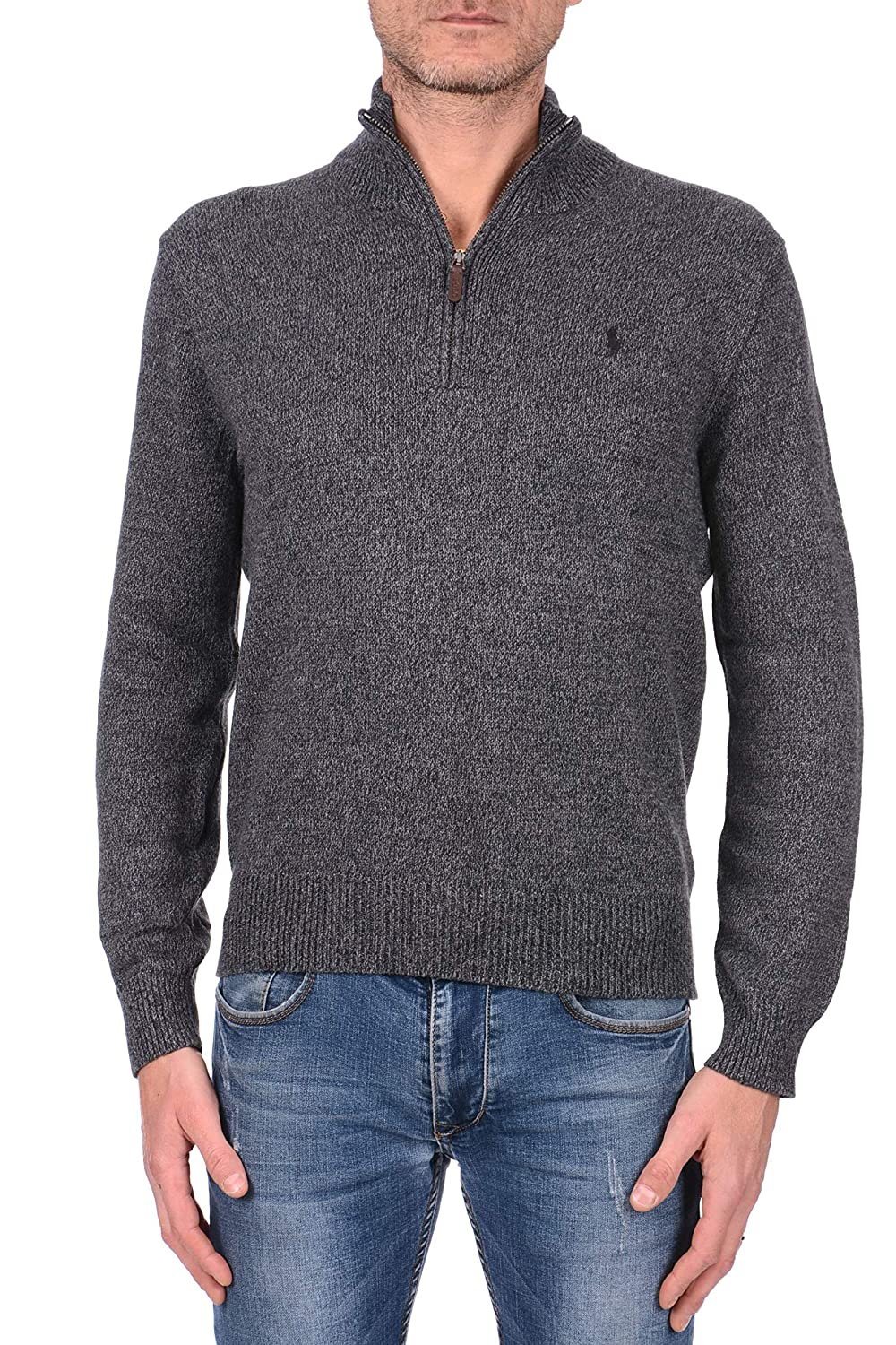 Polo Ralph Lauren Mens Half-Zip Mockneck Sweater, L, Charcoal