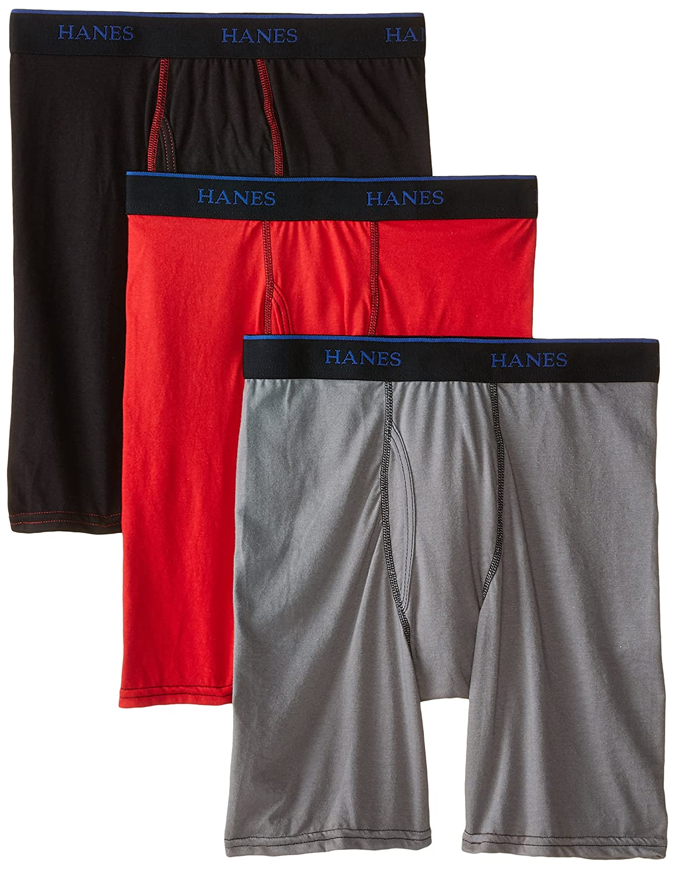 Hanes Big Boys\' 3-Pack X-Temp Long Leg Boxer Brief Hanes Boys 8-20 Underwear BULBX3