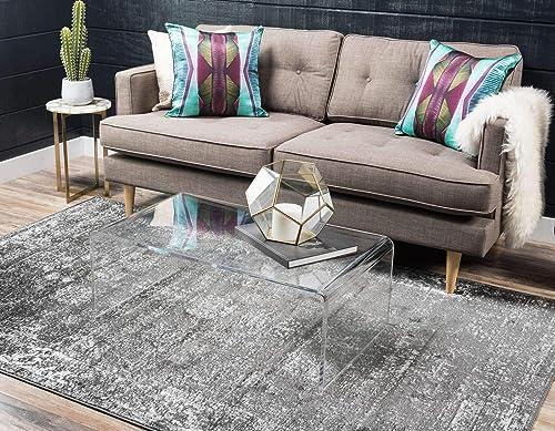 Unique Loom Sofia Collection Traditional Vintage Dark Gray Area Rug 6 0 x 9 0 , Rectangle