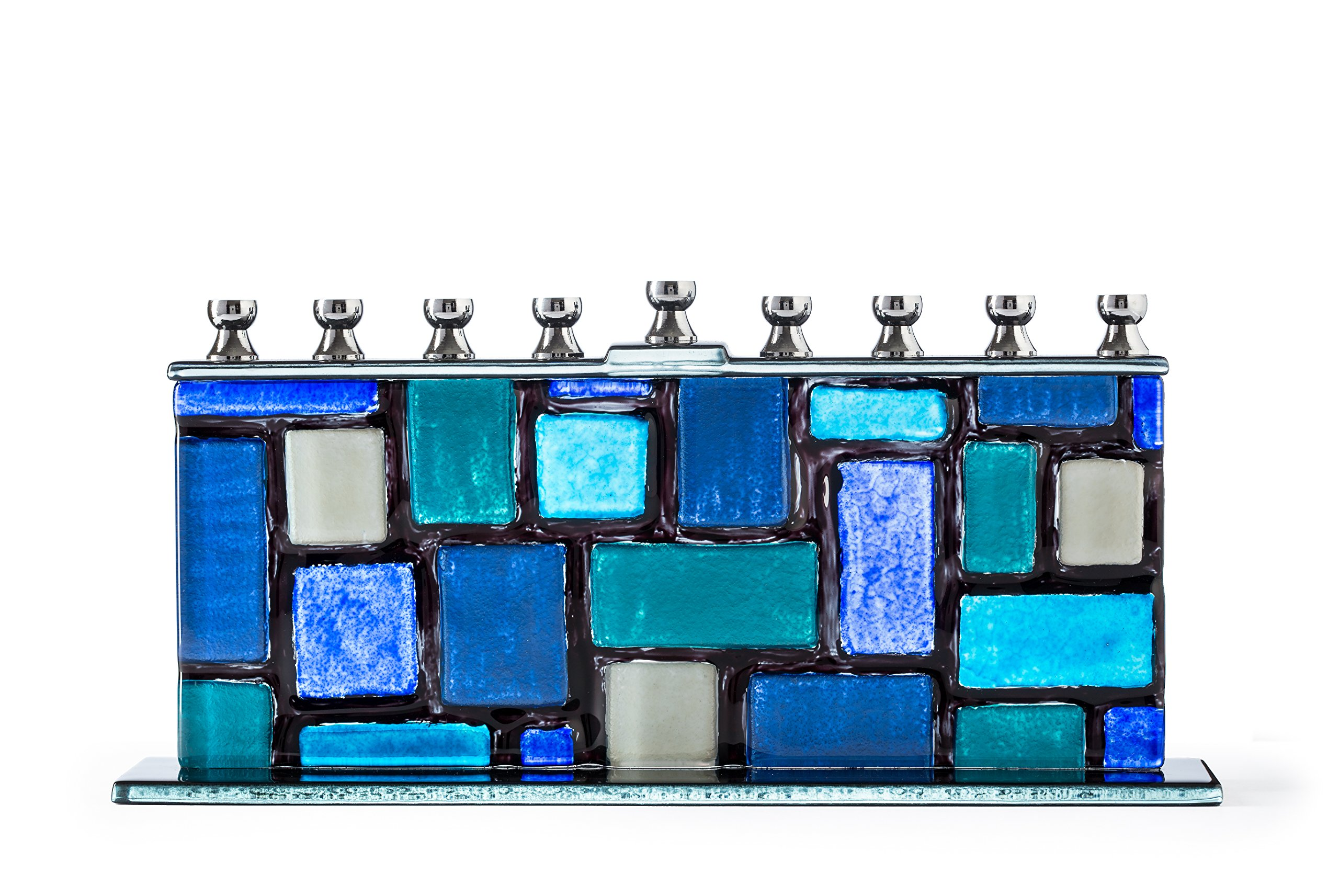 Ner Mitzvah Glass Candle Menorah - Fits All Standard Chanukah Candles - Handcrafted Blue and White Western Wall/Kotel Design Menora by Ner Mitzvah
