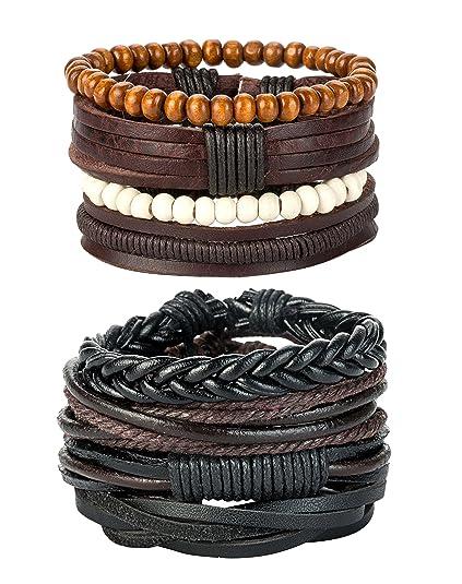 Revolia 8 12 Pcs Leather Bracelets For Men Women Wooden Beaded Bracelets Braided Cuff by Revolia
