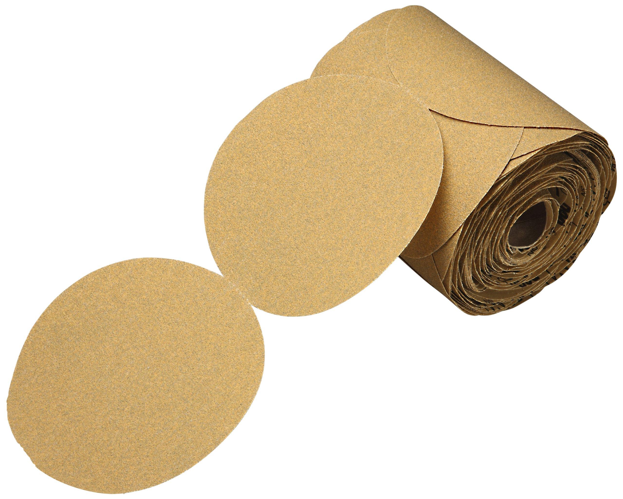 3M Stikit Gold Paper Disc Roll 216U, Aluminum Oxide, 5'' Diameter, P400 Grit, Gold (Roll of 175)