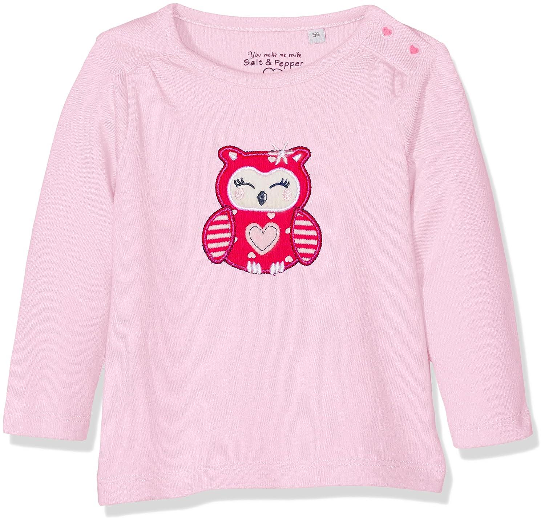 Salt & Pepper Baby Girls' Nb Longsleeve Happy Uni Eule T-Shirt