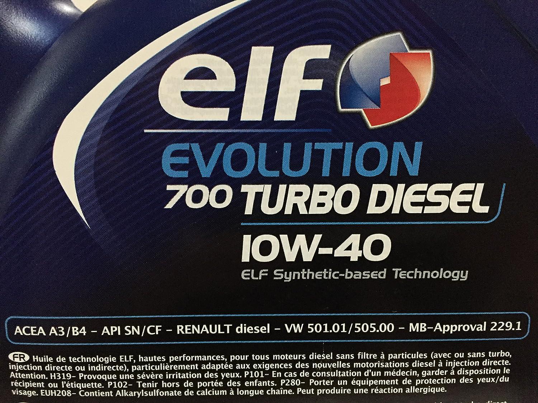 Elf - Aceite de Motor el Evolution 700 Turbo Diesel 10w40 - Botella de 1 l: Amazon.es: Coche y moto