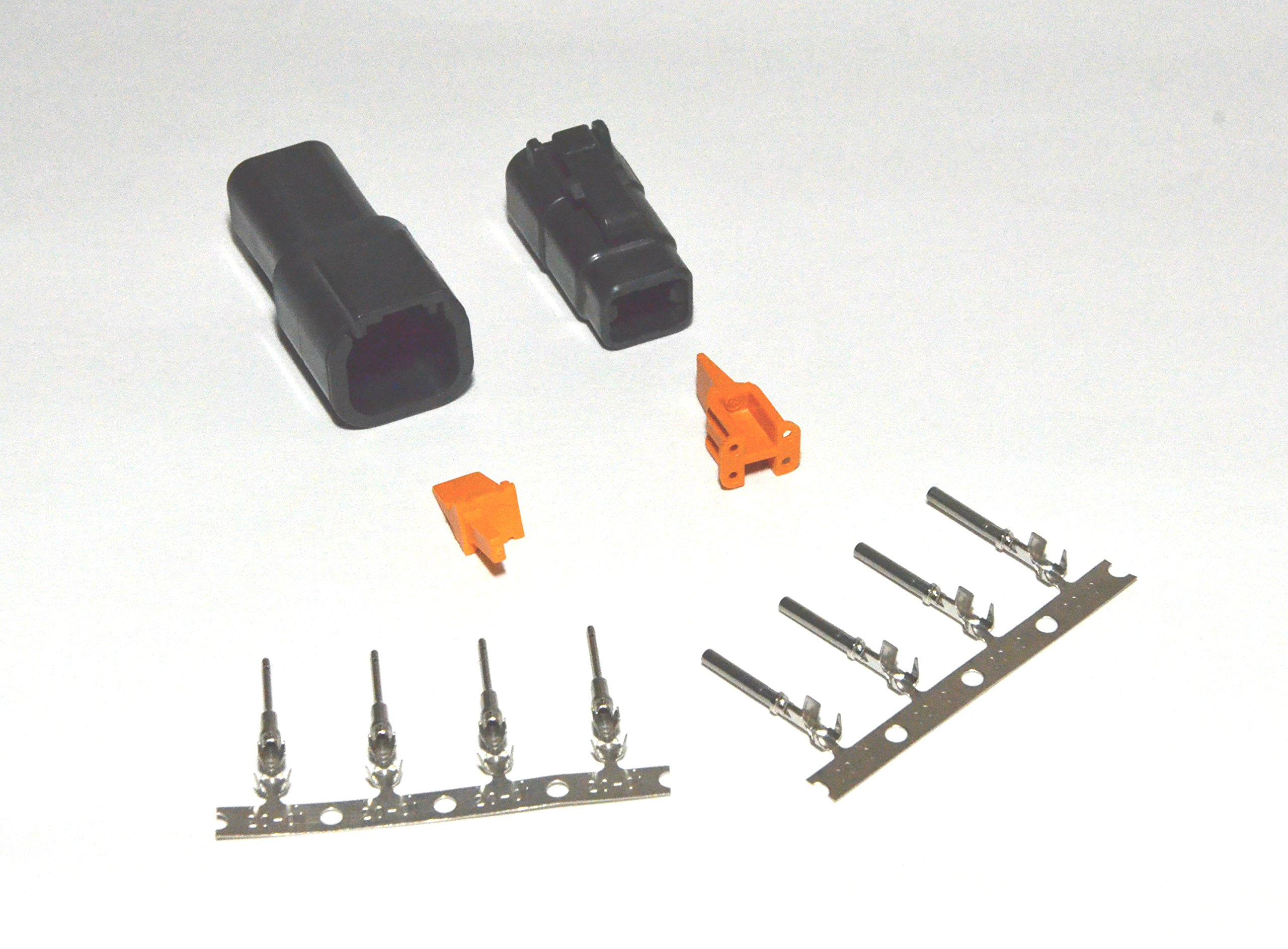 Deutsch DTM Black 4-pin Connector Kit with 20 Gauge Stamped Contacts by Deutsch