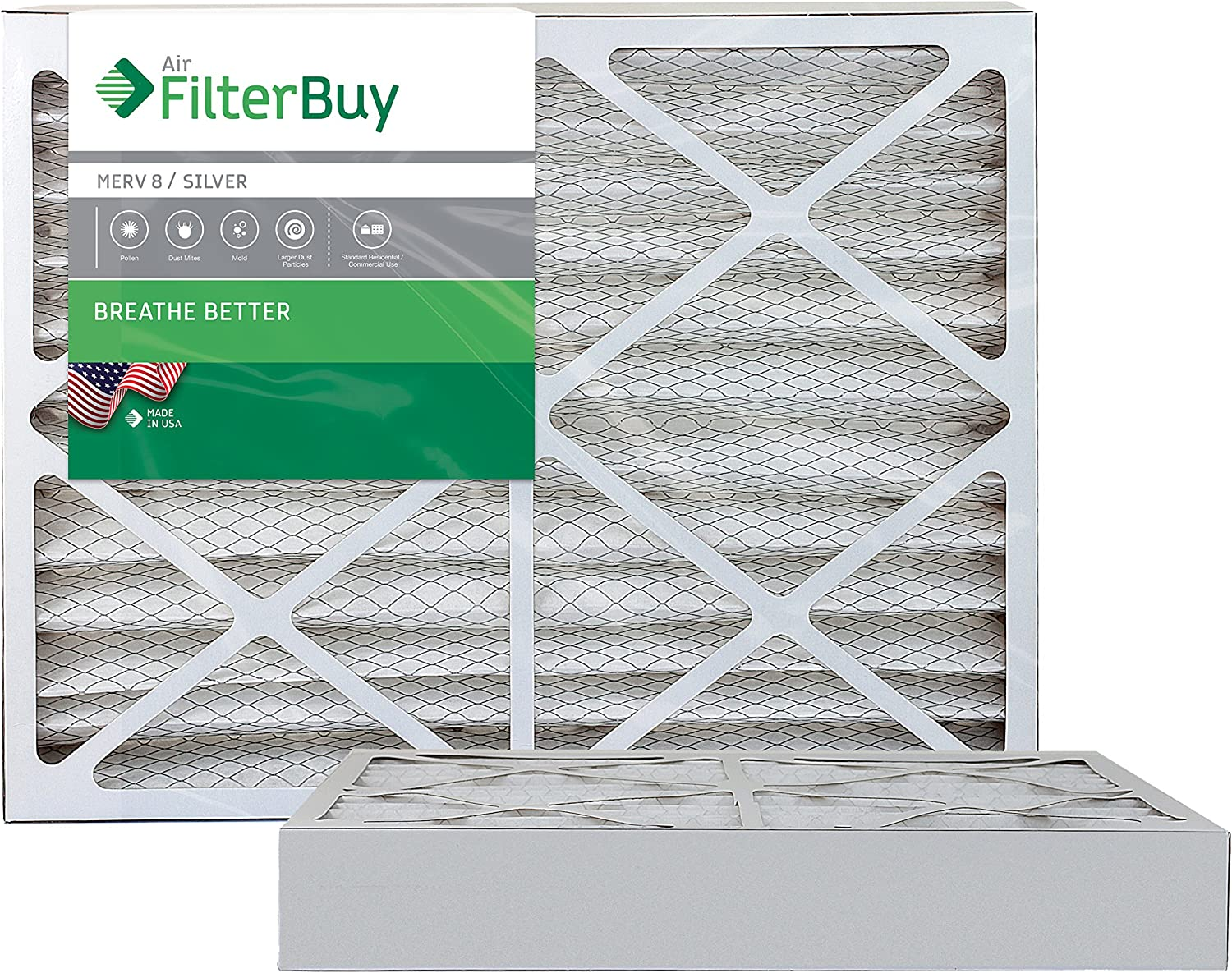 FilterBuy 20x25x4 MERV 8 Pleated AC Furnace Air Filter, (Pack of 2 Filters), 20x25x4 – Silver