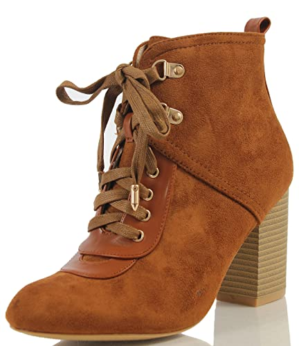 Women's Chic Combat Lace Up Pull On Tab Stacked Heel Ankle Bootie