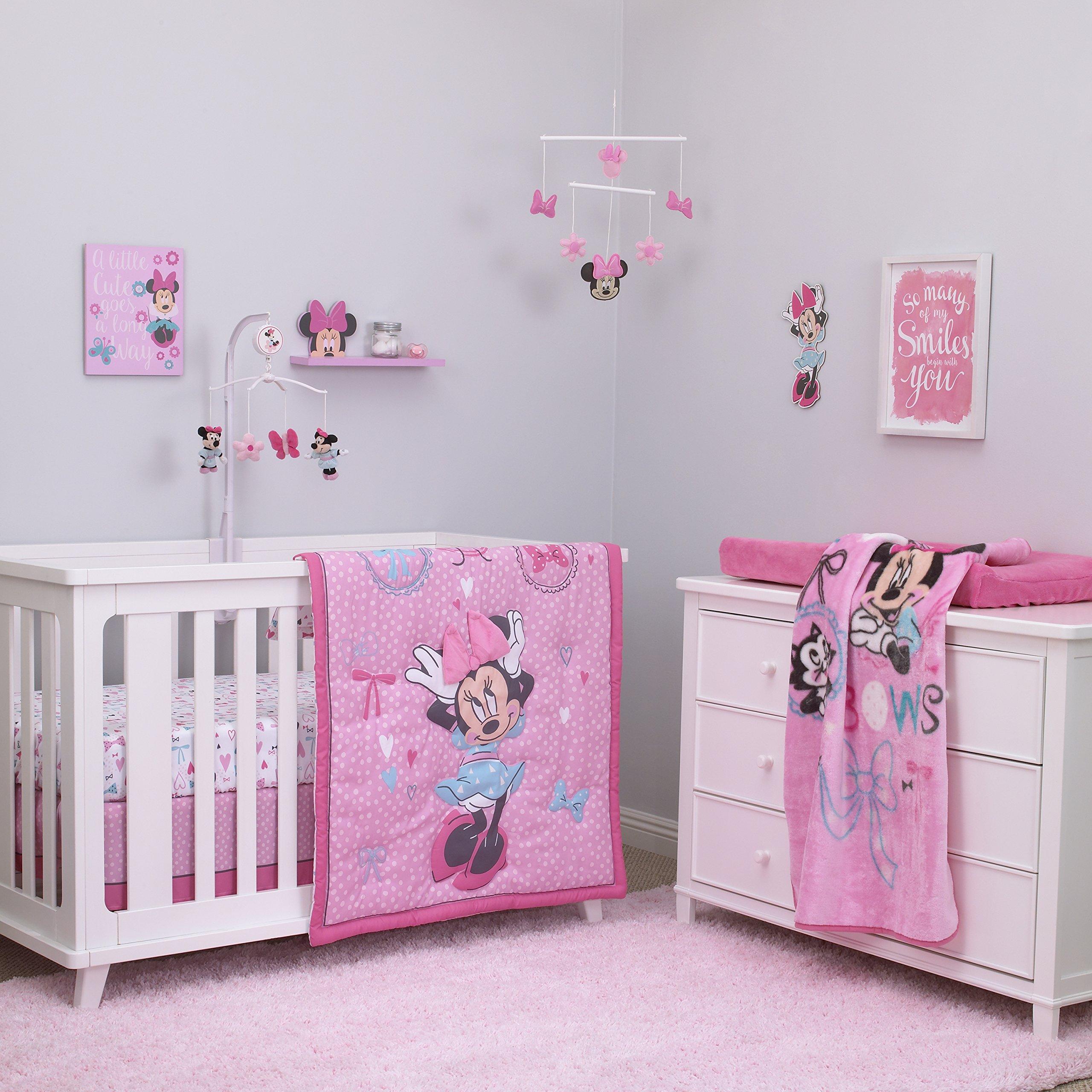 Disney Baby Minnie Mouse All About Bows 4 Piece Nursery Crib Bedding Set, Pink, Aqua by Disney