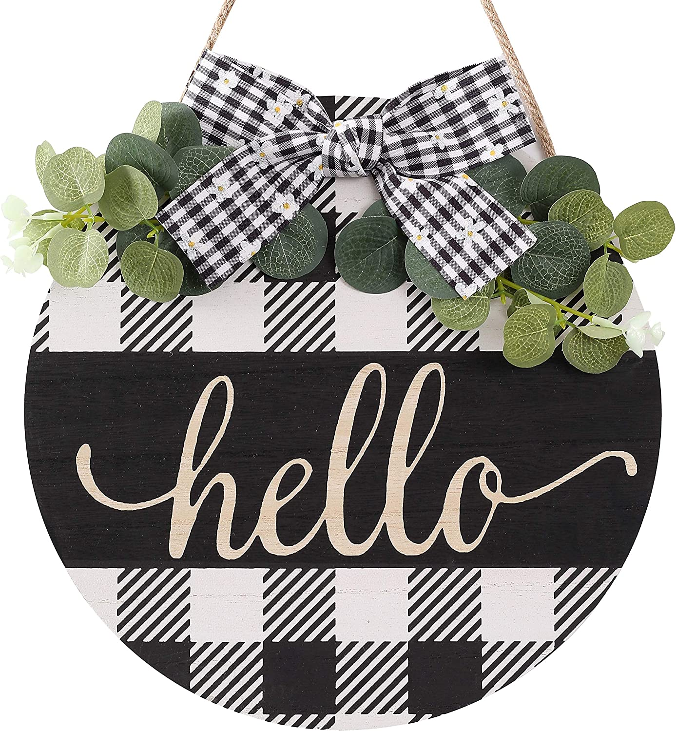 CYNOSA Welcome Hello Sign Porch for Front Door Decor, Black and White Bufflo Plaid Rustic Wooden Door Hangers Wreath Decoration Hanging Vertical Sign Farmhouse Outdoor Wall Decor (Black White)
