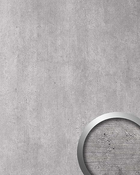 Panel decorativo aspecto cemento WallFace 19091 CEMENT LIGHT hormigón piedra atractivo decoración revestimiento mural autoadhesivo gris