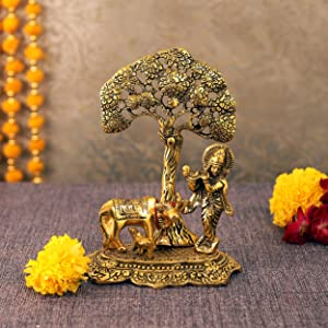 TIED RIBBONS Lord Krishna with Cow and Calf Under Tree Idol Brass Murti- Home Decoration Item and Home Gifts