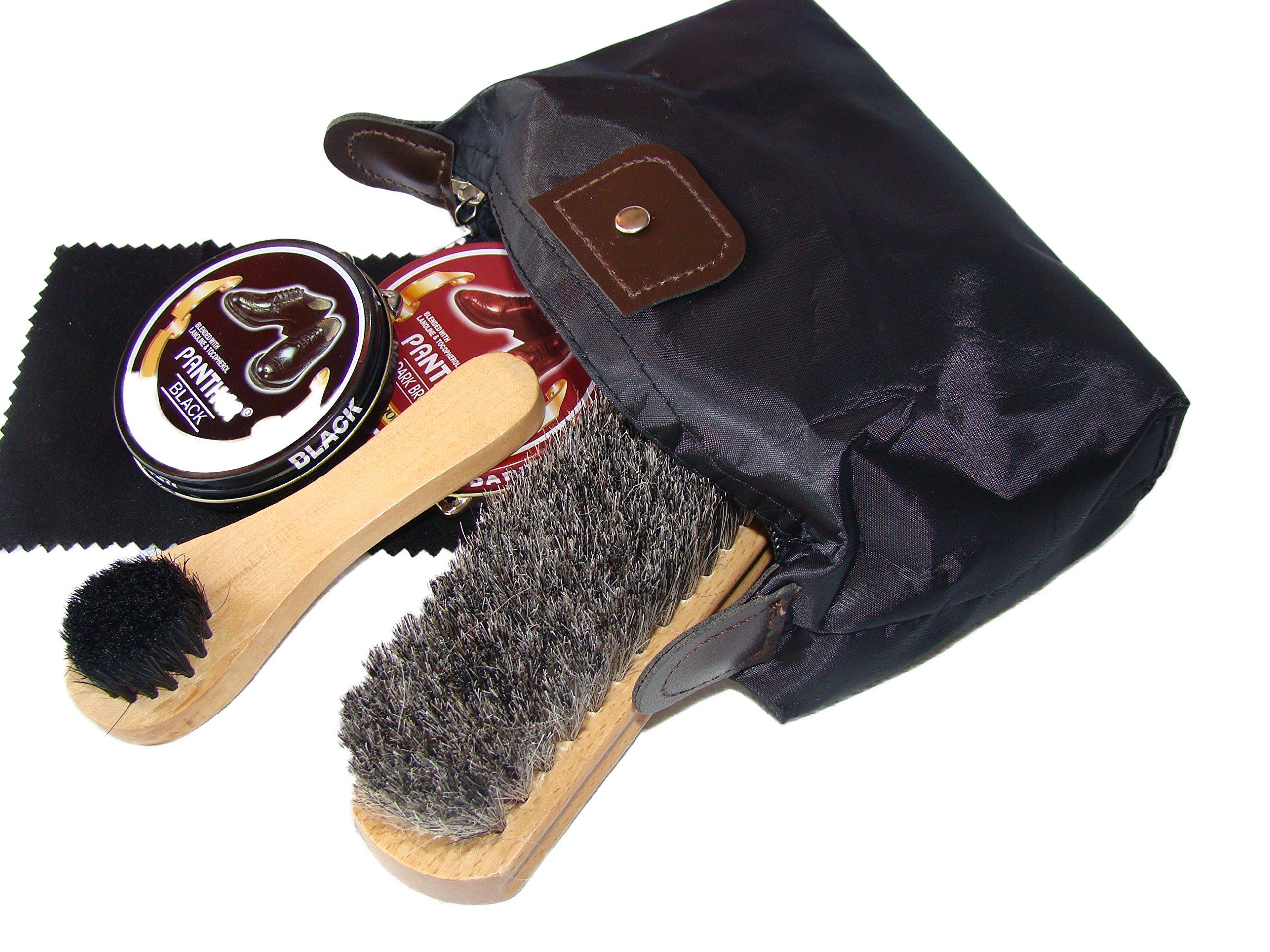 Shoe Shine Kit with Professional Horse Hair Buffing Brush