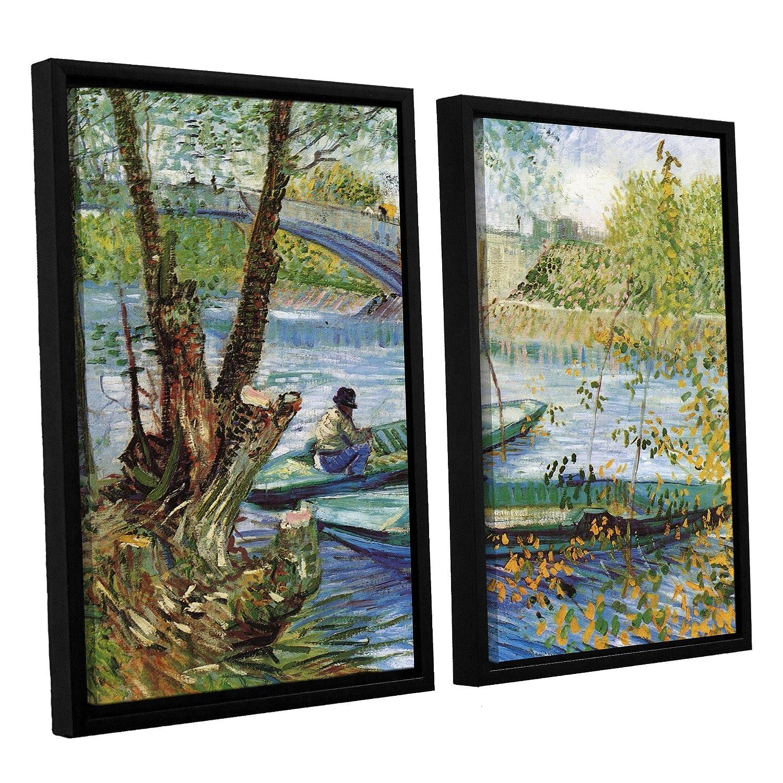 Asnieres Floater Framed Canvas Artwork 24 x 32 ArtWall 4 Piece Vincent Vangoghs Fishing in Spring The Pont De Clichy